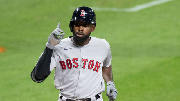 Jackie Bradley Jr. reacts after hitting a home run against the Orioles