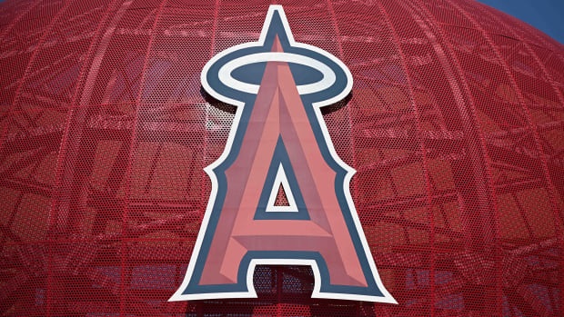 Apr 15, 2020; Anaheim, California, USA; General overall view of the Los Angeles Angels logo at Angel Stadium of Anaheim amid the global coronavirus COVID-19 pandemic.
