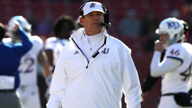 Kansas coach Les Miles has been accused of sexual misconduct during his time at LSU.