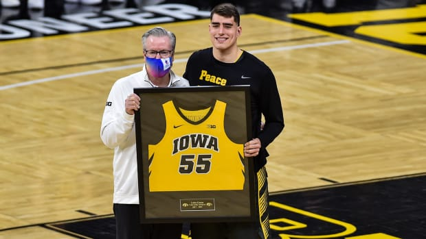 Luka Garza at his jersey retirement announcement.