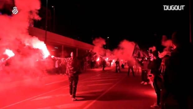 RCD Espanyol fans welcome their team