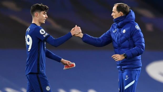 Chelsea's Kai Havertz and Thomas Tuchel