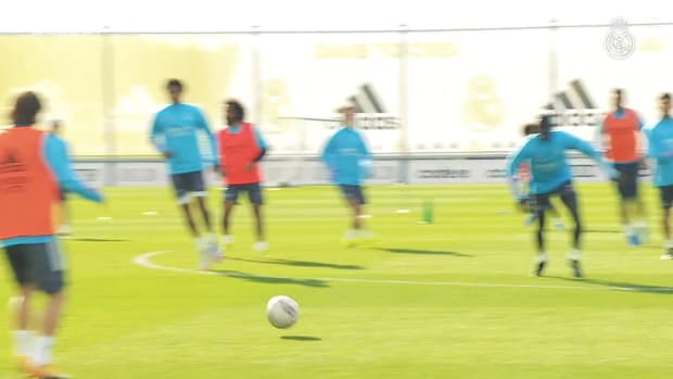 Pressing and ball control drills in the first session at Real Madrid City
