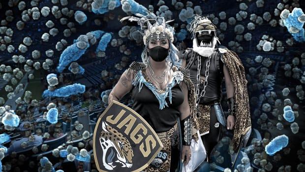 Photo illustration of Jaguars fans in masks