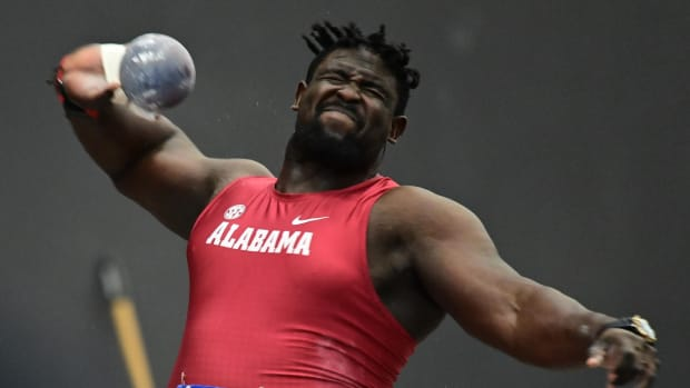 Isaac Odugbesan took first place in the indoor SEC Championships on Feb. 27, 2021, in the shot-put with a throw of 20.50 meters.