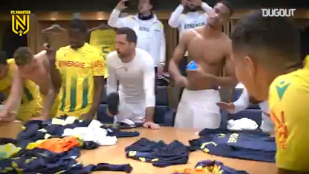 Nantes' celebrations after win at Paris