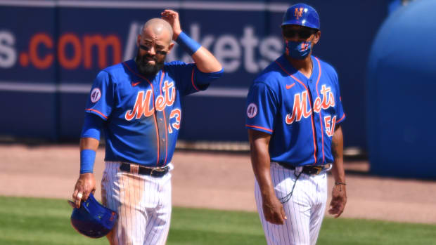Mets infielder Luis Guillorme on first base after working a 22-pitch walk