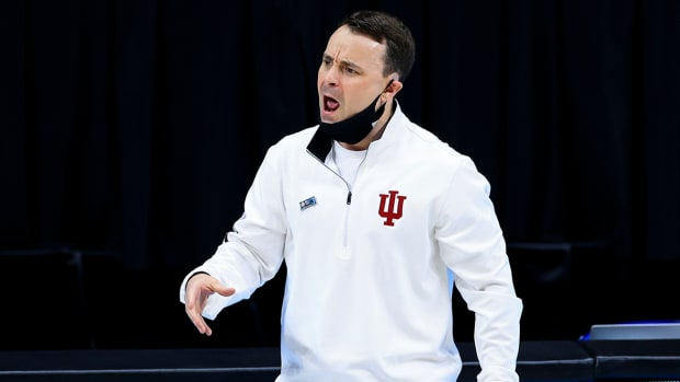 Mar 11, 2021; Indianapolis, Indiana, USA; Indiana Hoosiers head coach Archie Miller yells to his players in the game against the Rutgers Scarlet Knights in the first half at Lucas Oil Stadium. Mandatory Credit: Aaron Doster-USA TODAY Sports