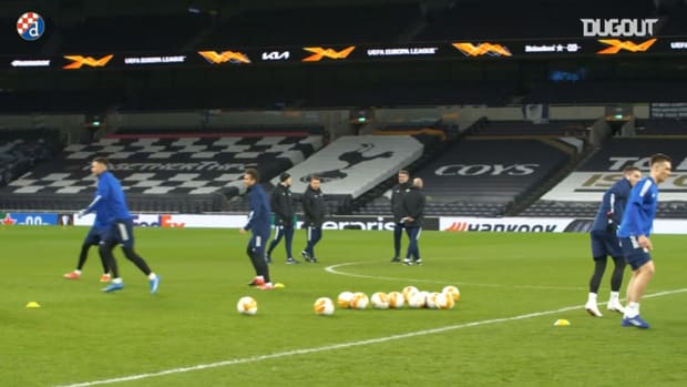 Dinamo Zagreb train at Tottenham Hotspur Stadium