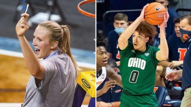 South Dakota's Hannah Sjerven and Ohio's Jason Preston