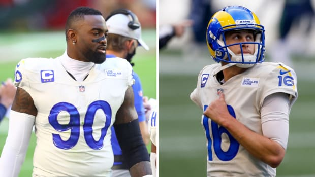 Side-by-side image of Rams' Michael Brockers and Jared Goff