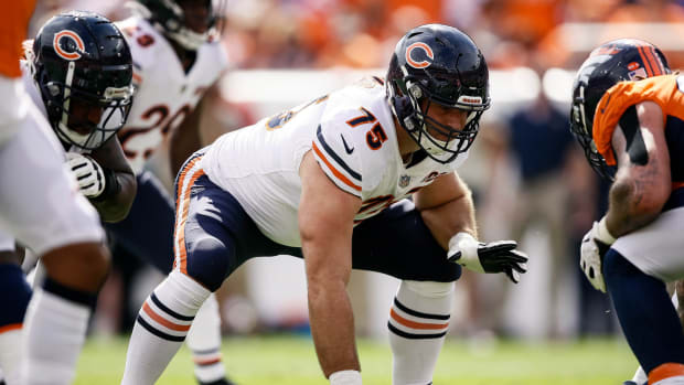 Sep 15, 2019; Denver, CO, USA; Chicago Bears guard Kyle Long (75) in the first quarter against the Chicago Bears at Empower Field at Mile High. Mandatory Credit: Isaiah J. Downing-USA TODAY Sports