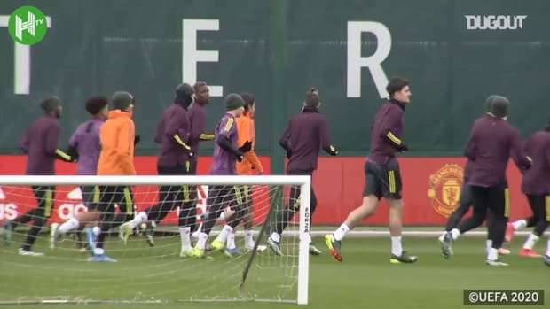 Manchester United in training before Milan showdown