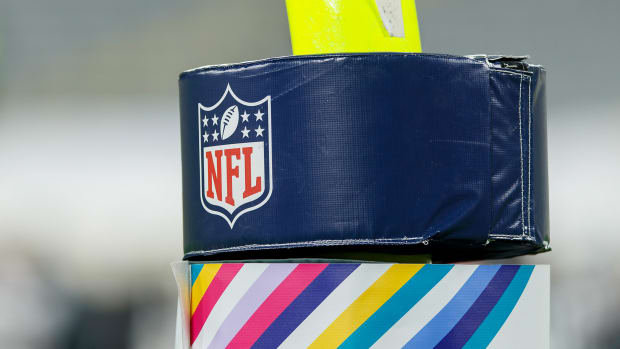 Oct 5, 2020; Green Bay, Wisconsin, USA; NFL logo on goalpost padding during the game between the Atlanta Falcons and Green Bay Packers at Lambeau Field.