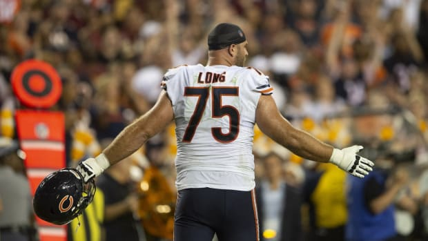 Sep 23, 2019; Landover, MD, USA; Chicago Bears guard Kyle Long (75) stands on the field during the first half against the Washington Redskins at FedExField. Mandatory Credit: Tommy Gilligan-USA TODAY Sports