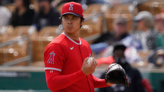 Shohei Ohtani on the mound for the Angels.