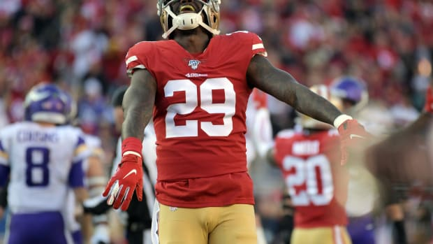 San Francisco 49ers strong safety Jaquiski Tartt (29) reacts after Minnesota Vikings quarterback Kirk Cousins (8) is sacked during the first half in the NFC Divisional Round playoff football game at Levi's Stadium.