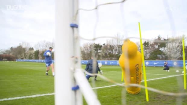 Chelsea Women in training before Champions League quarter-final