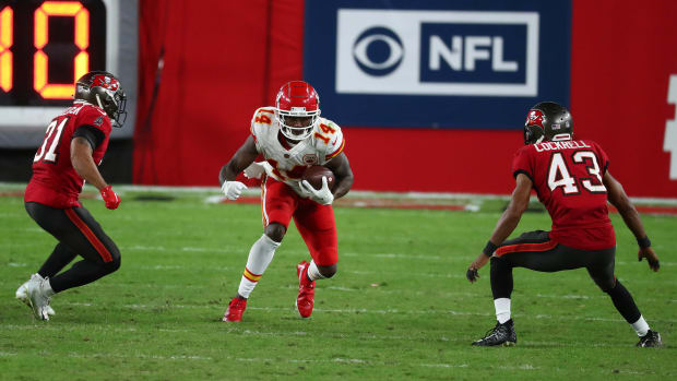 Nov 29, 2020; Tampa, Florida, USA; Kansas City Chiefs wide receiver Sammy Watkins (14) runs the ball against the Tampa Bay Buccaneers during the second half at Raymond James Stadium. Mandatory Credit: Kim Klement-USA TODAY Sports