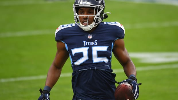 Dec 20, 2020; Nashville, Tennessee, USA; Tennessee Titans cornerback Adoree' Jackson (25) warms up before the game against the Detroit Lions at Nissan Stadium.