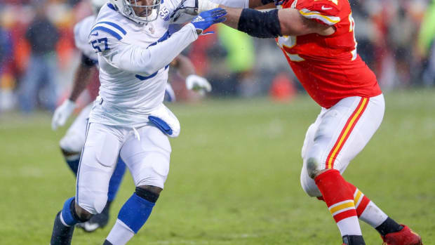 Indianapolis Colts defensive end Kemoko Turay (57) is blocked by Kansas City Chiefs offensive tackle Eric Fisher (72) in the second quarter at Arrowhead Stadium in Kansas City, Mo., on Saturday, Jan. 12, 2019. Indianapolis Colts Play The Kansas City Chiefs At Arrowhead Stadium In Afc Playoffs 2019