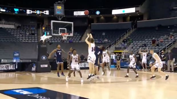 Screenshot from video of buzzer beater in Division-II tournament