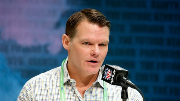 Feb 25, 2020; Indianapolis, Indiana, USA; Indianapolis Colts general manager Chris Ballard speaks to the media during the NFL Combine at the Indiana Convention Center. Mandatory Credit: Brian Spurlock-USA TODAY Sports