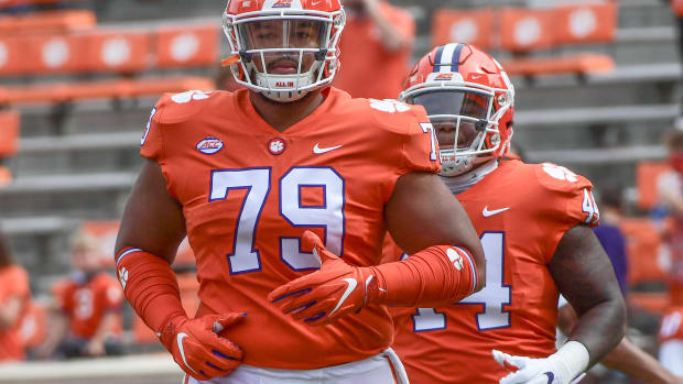 Clemson offensive tacle Jackson Carman (79) played 100 snaps in the Notre Dame game, and Tigers coaches acknowledge that may be too much. Clemson The Citadel Ncaa Football