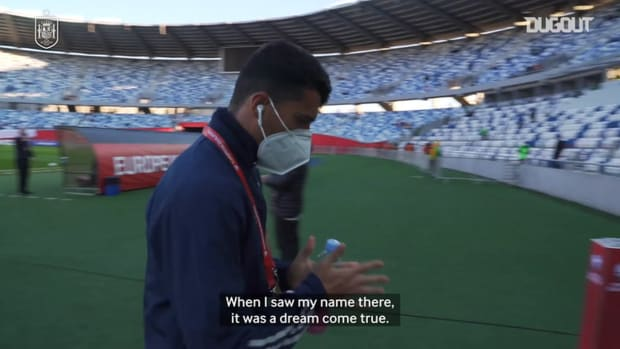 Pedro Porro's emotional reaction after Spain debut