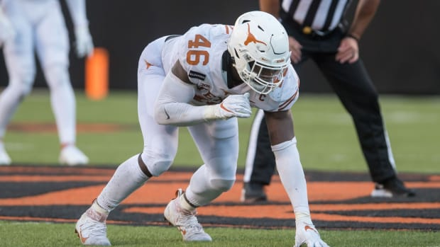 Oct 31, 2020; Stillwater, Oklahoma, USA; Texas Longhorns linebacker Joseph Ossai (46) waits on the snap during the third quarter of the game agains the Oklahoma State Cowboys at Boone Pickens Stadium. Mandatory Credit: Texas won 41-34. Brett Rojo-USA TODAY Sports