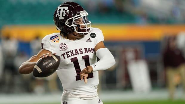 Texas A&M Aggies quarterback Kellen Mond (11) warms up prior to their game against the North Carolina Tar Heels at Hard Rock Stadium.