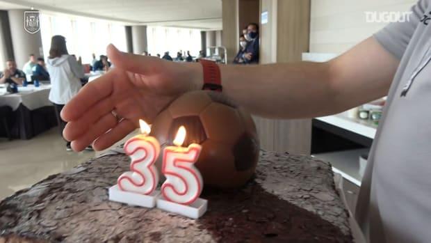 Sergio Ramos celebrates 35th birthday with Spain teammates