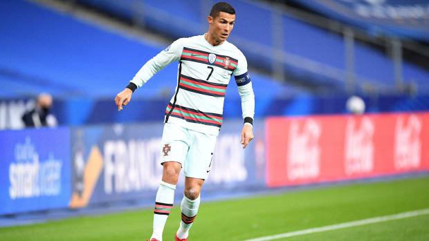 Ronaldo playing for Portugal.
