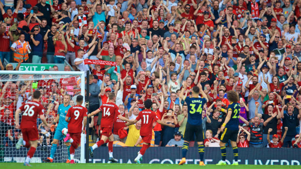 Liverpool's Mohamed Salah celebrates scoring a goal during the English Premier League match between Liverpool FC and Arsenal FC at Anfield in Liverpool, Britain on Aug. 24, 2019. Liverpool won 3-1. (Xinhua