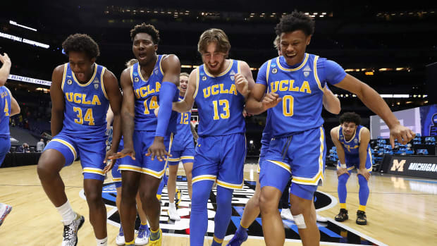 UCLA celebrates after beating Michigan to reach the Final Four
