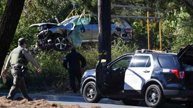Tiger Woods's crashed car in California.