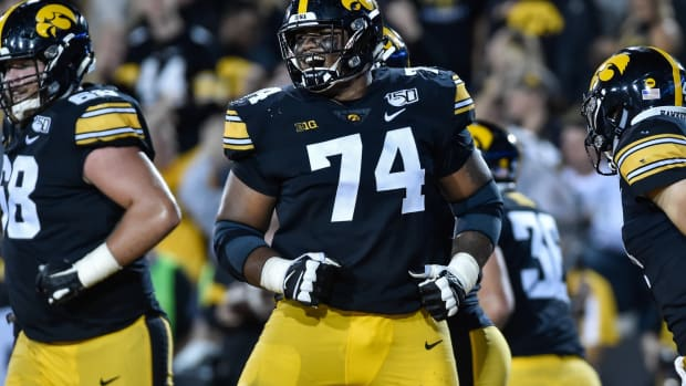 Aug 31, 2019; Iowa City, IA, USA; Iowa Hawkeyes offensive lineman Tristan Wirfs (74) reacts during the game against the Miami (Oh) Redhawks at Kinnick Stadium.