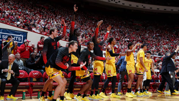 Maryland Terrapins bench reacts to making a three point shot against the Indiana Hoosiers during the first half at Simon Skjodt Assembly Hall.