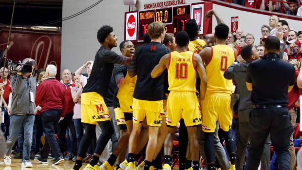 Maryland Terrapins celebrate the win after the game against the Indiana Hoosiers at Simon Skjodt Assembly Hall.