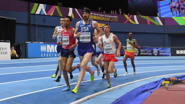 Ben Blankenship (USA) lead the 1,500m during the 2018 IAAF World Indoor Championships at Arena Birmingham.