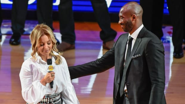 Los Angeles Lakers owner Jeanie Buss becomes emotional during a halftime ceremony honoring former player Kobe Bryant at Staples Center. Bryant had his two uniform numbers retired.