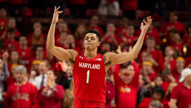 Maryland Terrapins guard Anthony Cowan Jr. (1) reacts as fans cheer during the second half against the Iowa Hawkeyes at XFINITY Center.