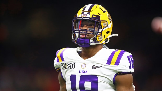 Jan 13, 2020; New Orleans, Louisiana, USA; LSU Tigers linebacker K'Lavon Chaisson (18) against the Clemson Tigers in the College Football Playoff national championship game at Mercedes-Benz Superdome.