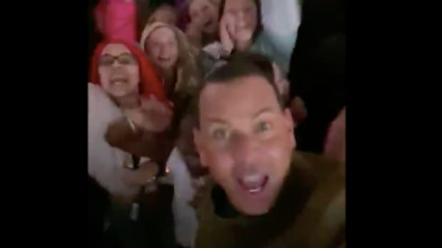 Alex Rodriguez jams out during Jennifer Lopez's Super Bowl halftime show.