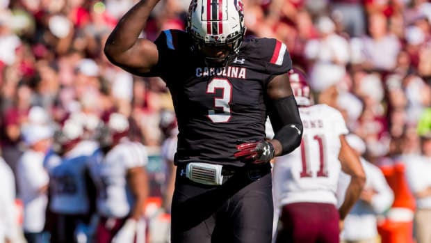 Oct 13, 2018; Columbia, SC, USA; South Carolina Gamecocks defensive lineman Javon Kinlaw (3) celebrates a play against the Texas A&M Aggies in the first quarter at Williams-Brice Stadium. Mandatory Credit: Jeff Blake-USA TODAY Sports