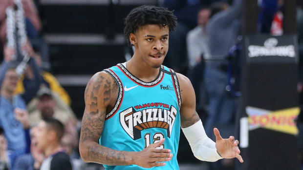 Grizzlies' Ja Morant reacts on the court