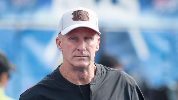 Cincinnati Bengals linebackers coach Jim Haslett on the field prior to a game against the Buffalo Bills at New Era Field.