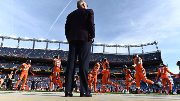 Denver Broncos general manager John Elway before the game against the Detroit Lions at Empower Field at Mile High.