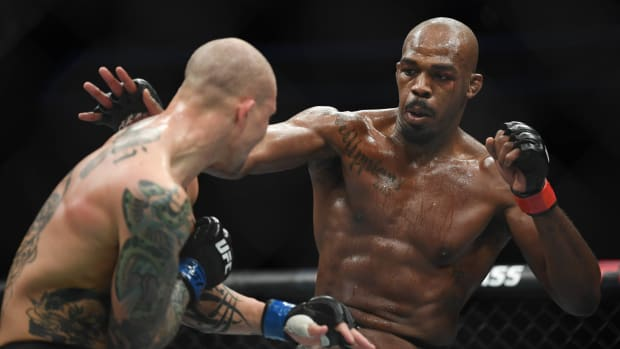 Jon Jones throws a punch vs. Anthony Smith at UFC 235