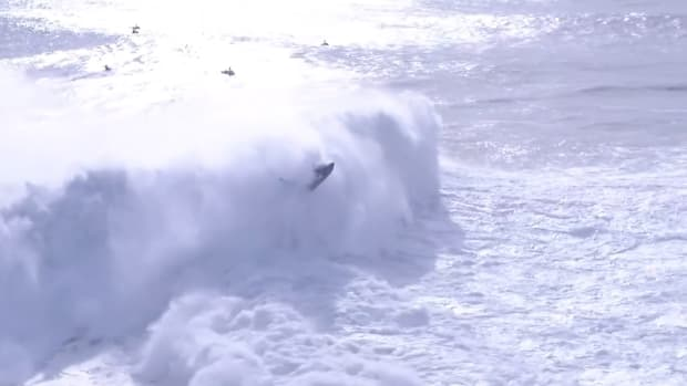 Screenshot from video of Alex Botelho and Hugo Vau's crash at Nazaré